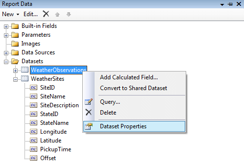 SQL Server Reporting Services Dataset Properties