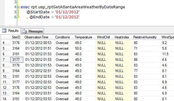 Weather conditions queried in SQL Server Management Studio