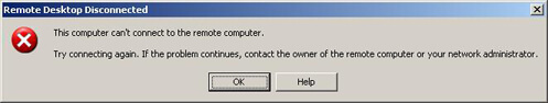Remote desktop connection error message