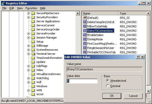 Enabling remote desktop connection for a server using registry values