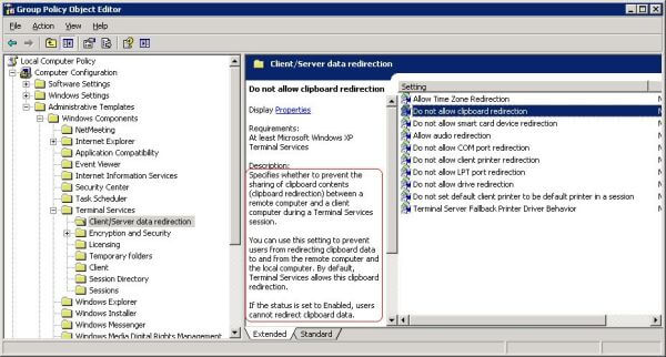 Terminal server group policy settings