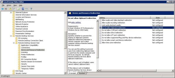 Setting clipboard sharing in Windows Server 2008 R2