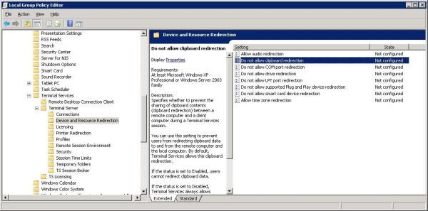 Setting clipboard sharing in Windows Server 2008
