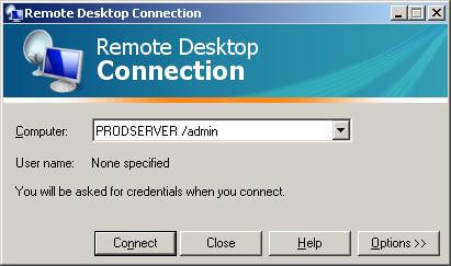 Remote desktop session with admin option