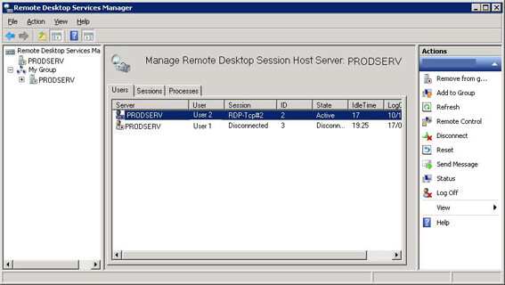 Remote Desktop Service Manager in Windows Server 2008 R2