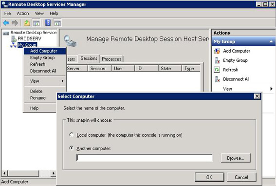 Terminal Services Manager in Windows Server 2008 R2: Connecting to a remote computer