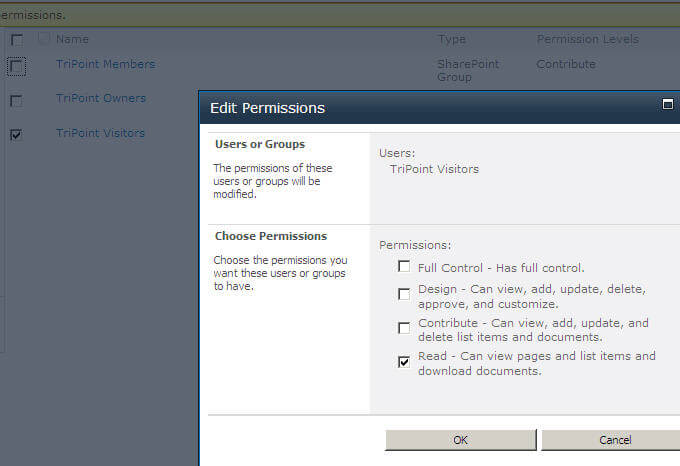 Library Permissions for Group