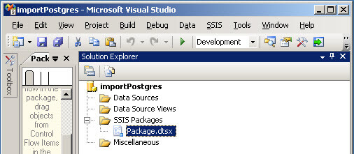 Create a SSIS package to export data from Postgres