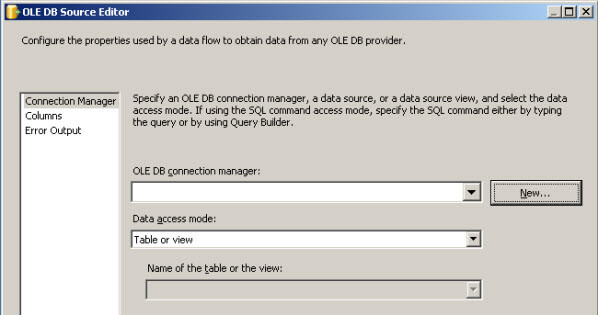 Add the OLE DB Source properties in SSIS