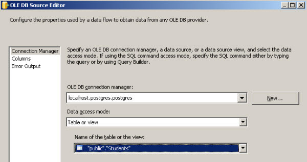 Export data from Postgres to SQL Server using SSIS