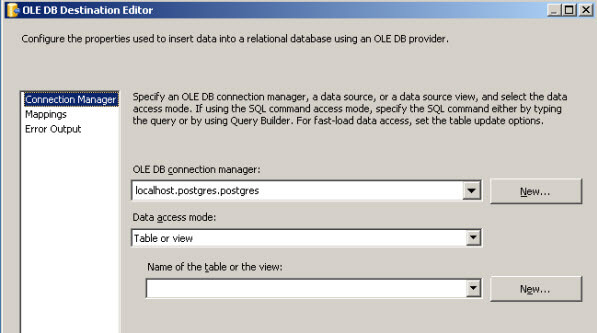 Configure the table properties in the SSIS OLE DB Destination Editor