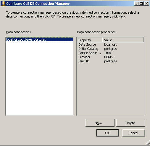 Select the Data Connection in SSIS for Postgres