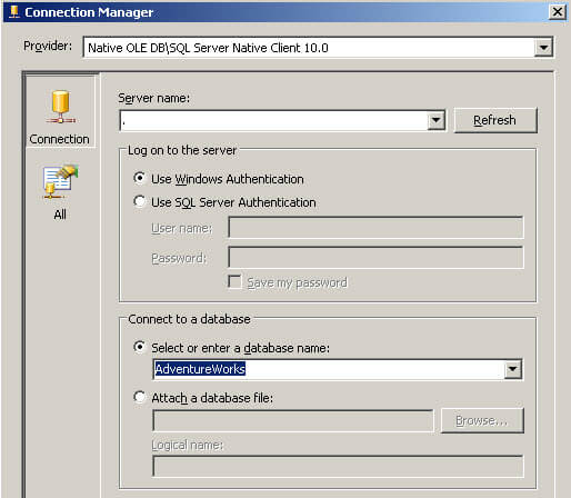 Specify the destination Database in SQL Server Integration Services