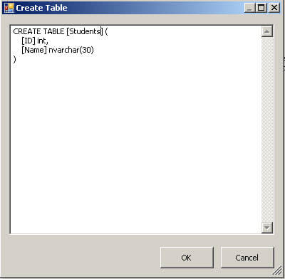 Create the students table in SSIS