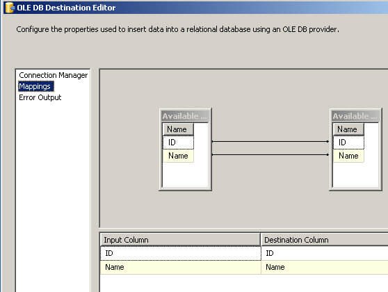 Map the tables in SSIS between the source and destination
