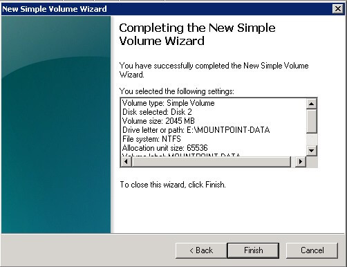 Complete the New Simple Volume Wizard