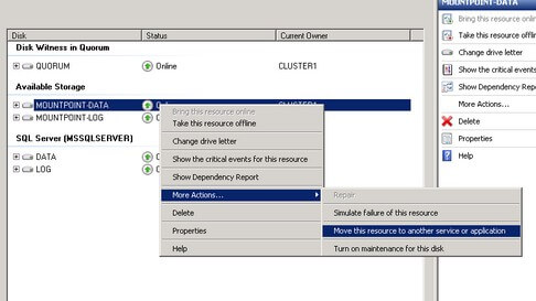 Failover Cluster Management Move this resource to another service or application