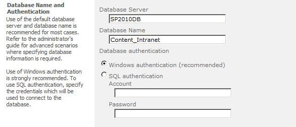Configure Database Name and Authentication in SharePoint 2010 Central Administration