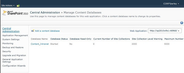 View Content Database Properties in SharePoint 2010 Central Administration
