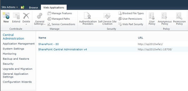 Create a web application in SharePoint 2010 Central Administration
