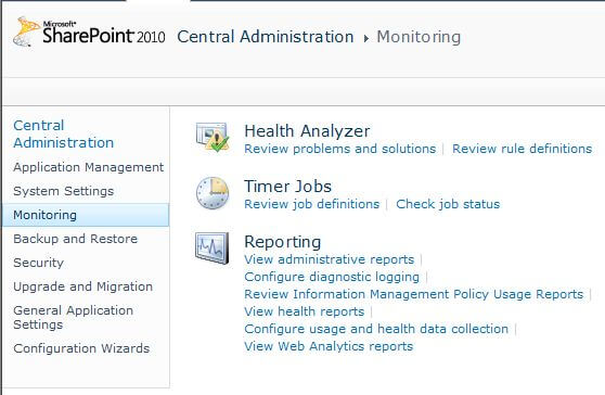 SharePoint 2010 Central Administration Monitoring Health Analyzer