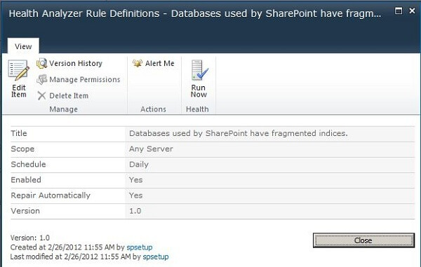 SharePoint 2010 Health Analyzer Rule Definitions