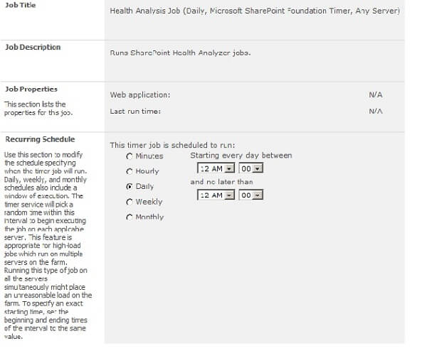 SharePoint 2010 Health Analysis Job