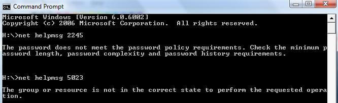 Command Prompt Net HelpMsg