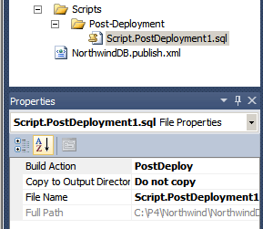 Script.PostDeployment1.sql Properites in Visual Studio