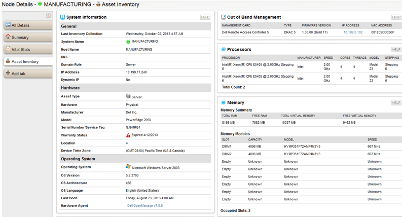 SolarWinds Server Asset Inventory