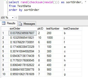 Correct query results using RAND() as a column value