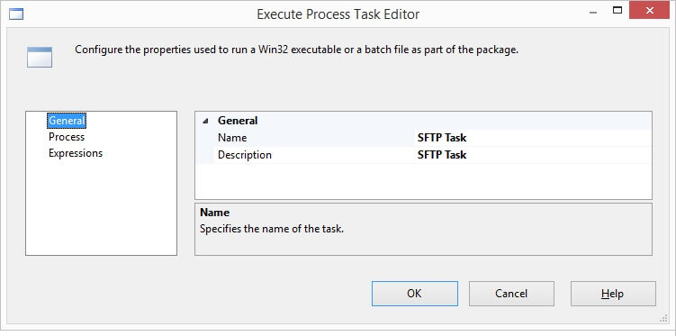 Rename the task in Execute Process Task Editor