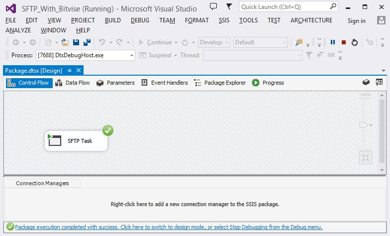 Run the SSIS package in debug mode