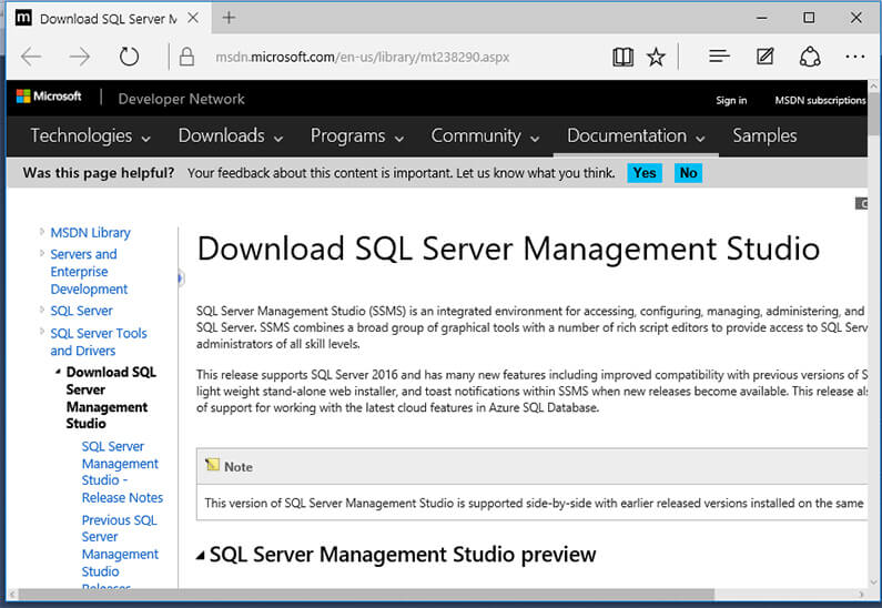 download sql server management studio 2016 msdn