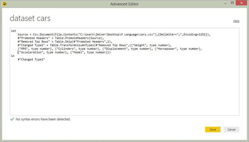 Power BI Desktop Advanced Editor includes all formatting and conversions