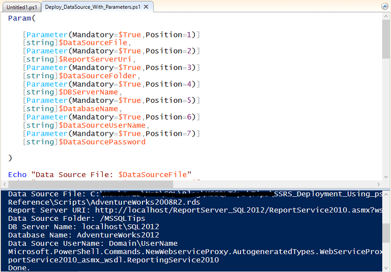 Data Source Deployment With Parameters