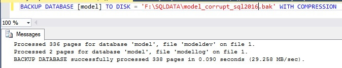 Backup the SQL Server Model Database
