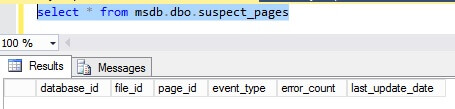 select * from msdb.dbo.suspect_pages