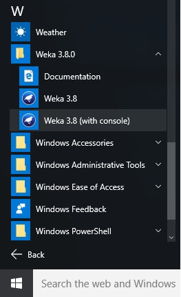 Start WEKA 3.8 with console