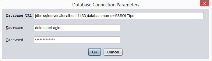 Enter database login and password