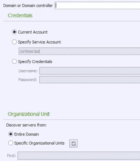 Set domain connection credentials