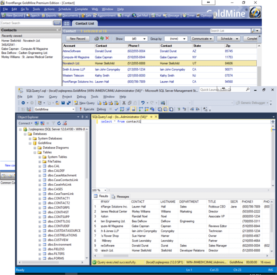 Original data in Goldmine and Management Studio prior to configuring DbDefence
