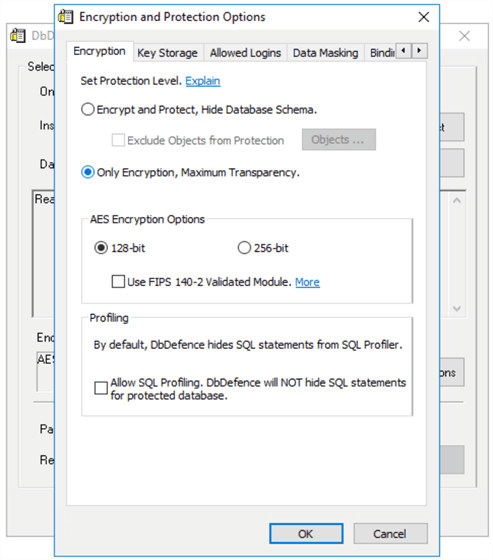 DbDefence Encryption Settings