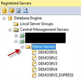 Registered Servers - Description: Registered Servers in SSMS