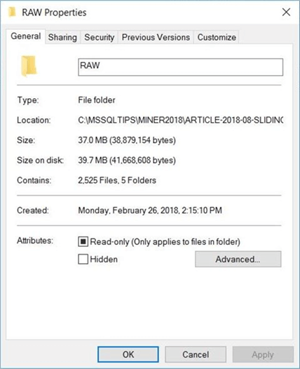 Sliding Window - Raw Files - Description: The size and number of files pulled from Yahoo Financials.