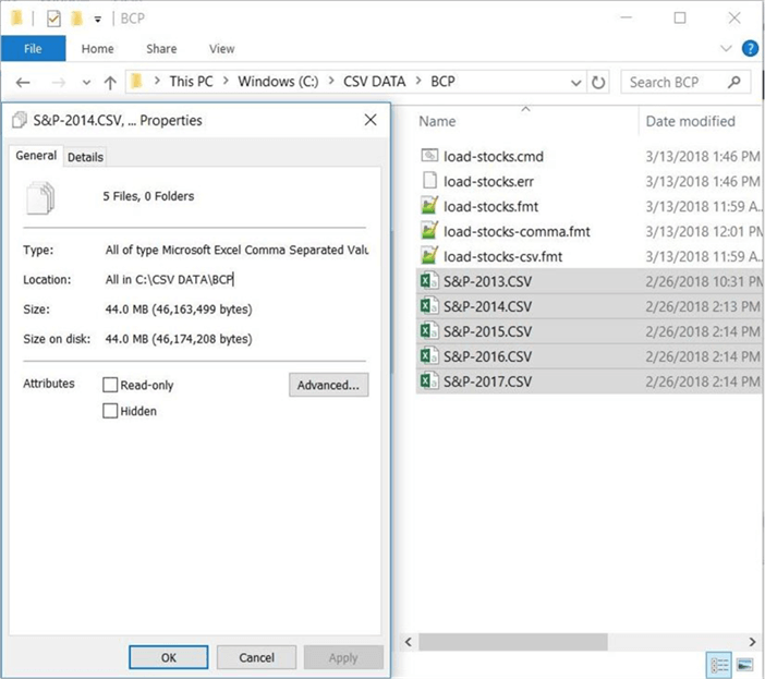 Sliding Window - BCP, CMD, and CSV files - Description: All the files needed to load data from on premise to the in cloud database.