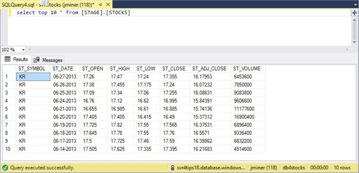 Sliding Window - Table Data - Part 2 - Description: The loaded data after modifying the format file.