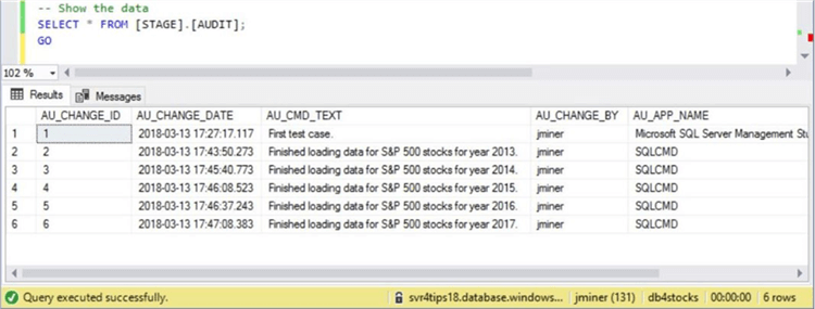 Sliding Window - Audit Table - Final State - Description: The image shows the final state of the audit table after loading 5 years worth of data.