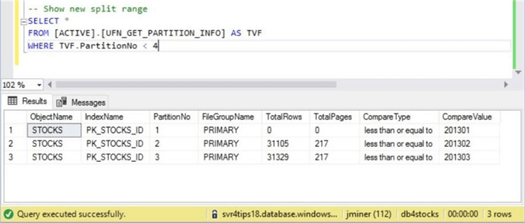 Sliding Window - Data Placement - Part 5 - Description: Viewing the results after executing the USP_DEL_STOCKS_PARTITION stored procedure.
