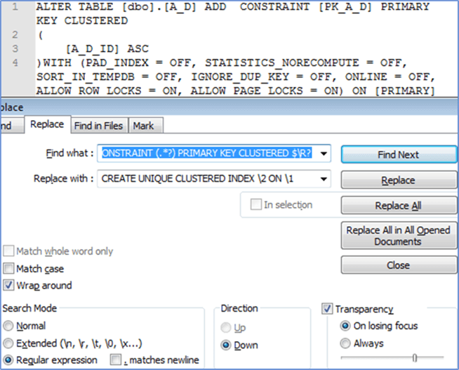 Using Notepad++ - Description: Search and replace using regular expression
